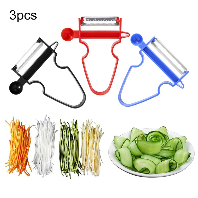 UPTHRUSH™ 3pcs Set Slicer Shredder Peeler Julienne Cutter Multi Peel Stainless Steel Blade Grater Kitchen Tools Magic Trio Peeler Set